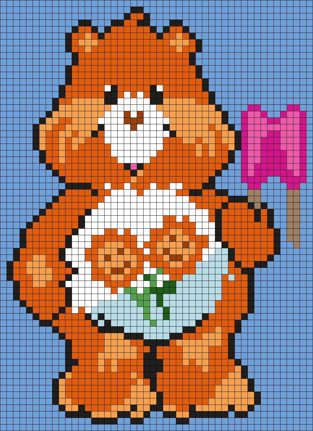 Friend Bear From The Care Bears (Square) Perler Bead Pattern / Bead Sprite
