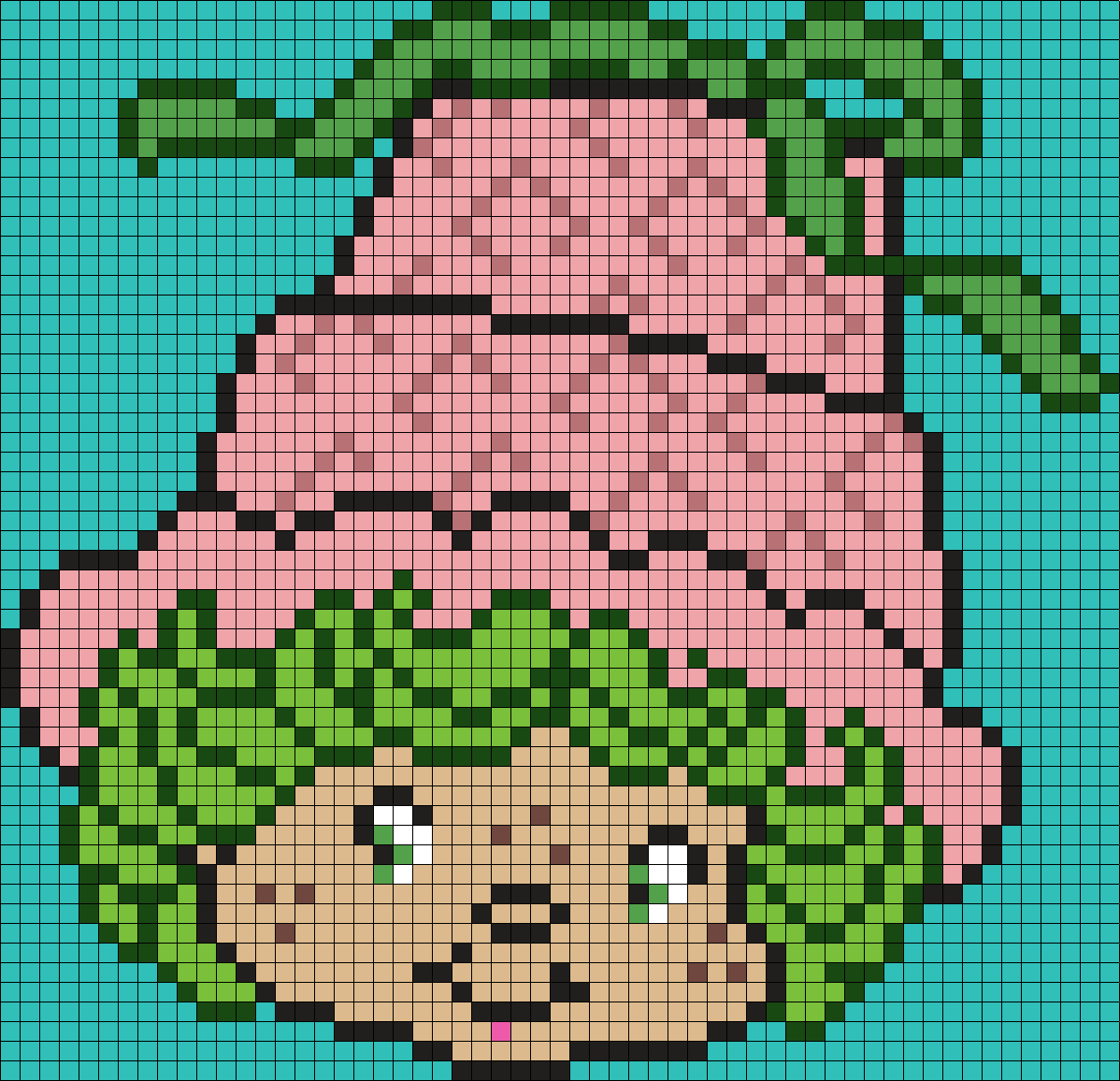 Lime Chiffon From Strawberry Shortcake (Square) Perler Bead Pattern / Bead Sprite