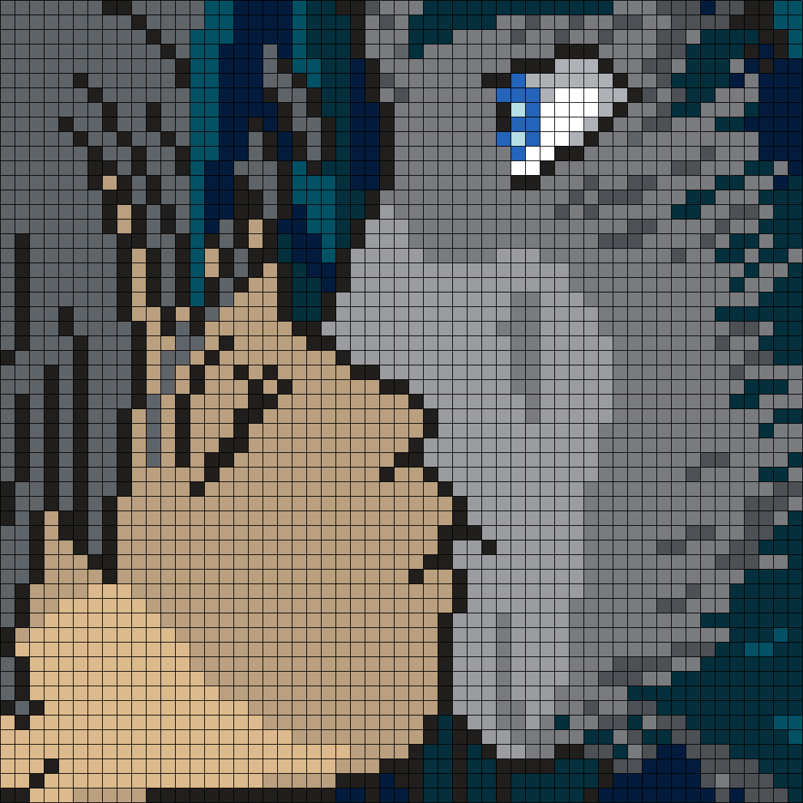 Sophie And Howl Kiss From Howl's Moving Castle (Square) Perler Bead Pattern / Bead Sprite