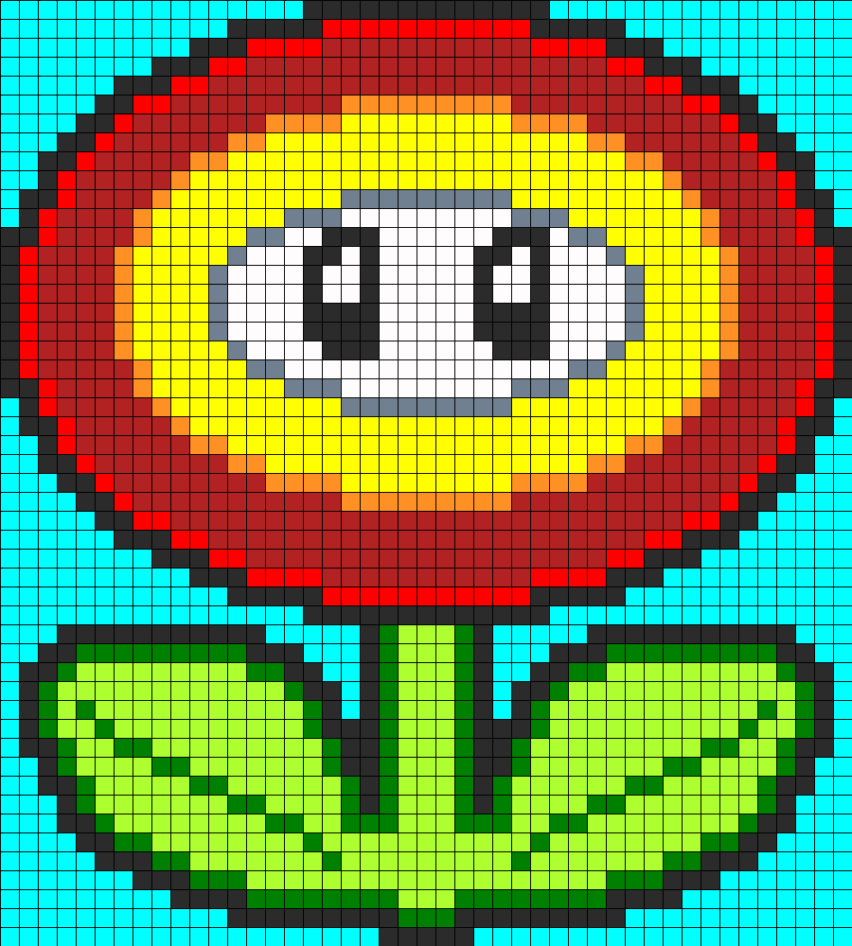 Mario Fire Flower Perler Bead