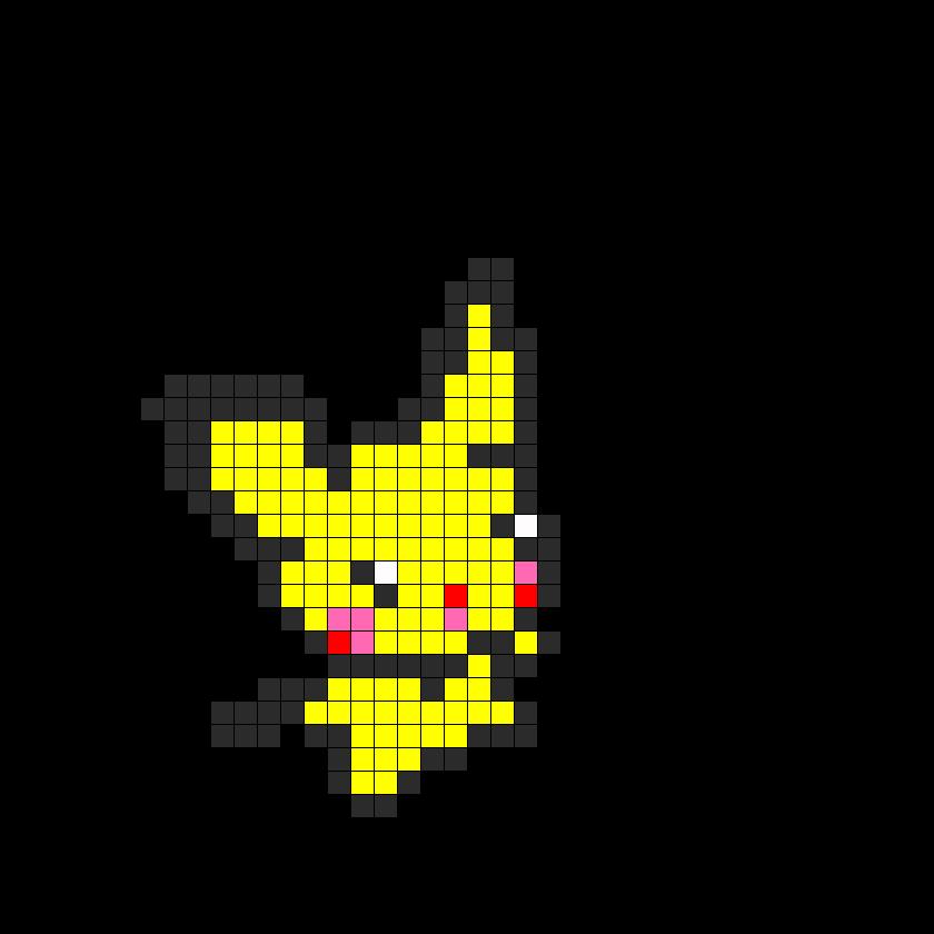 Kawaii Pikachu Fusebead Perler Bead Pattern / Bead Sprite