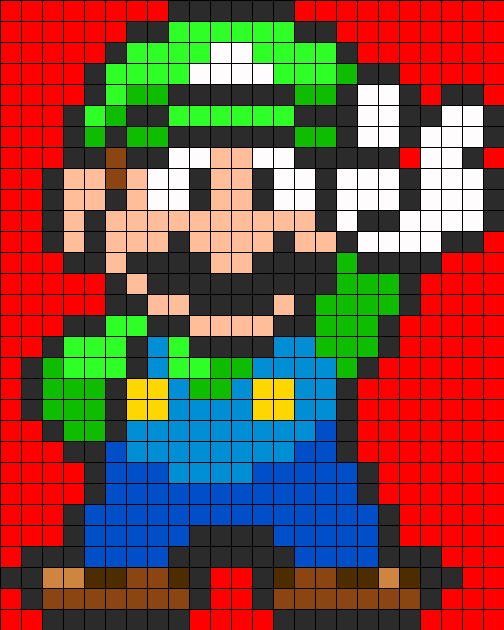 Luigi Full Body Perler Bead Pattern Sprites Characters Fuse Patterns