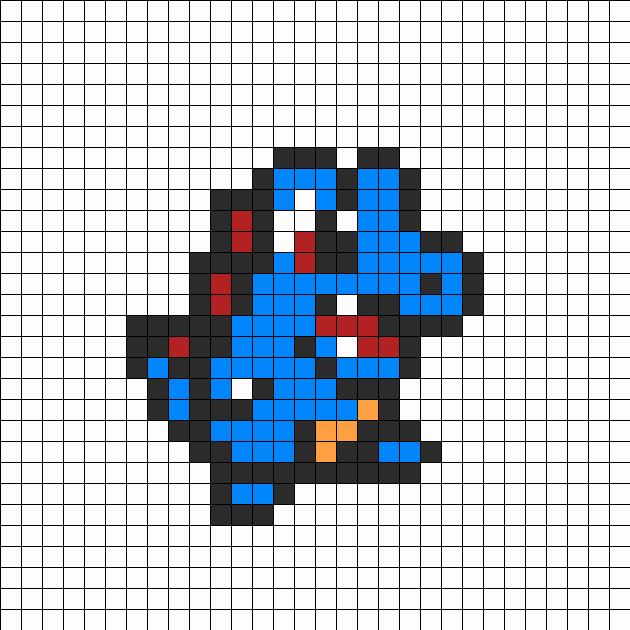 Totodile Perler Bead Pattern   Bead SpriteTotodile Sprite Grid