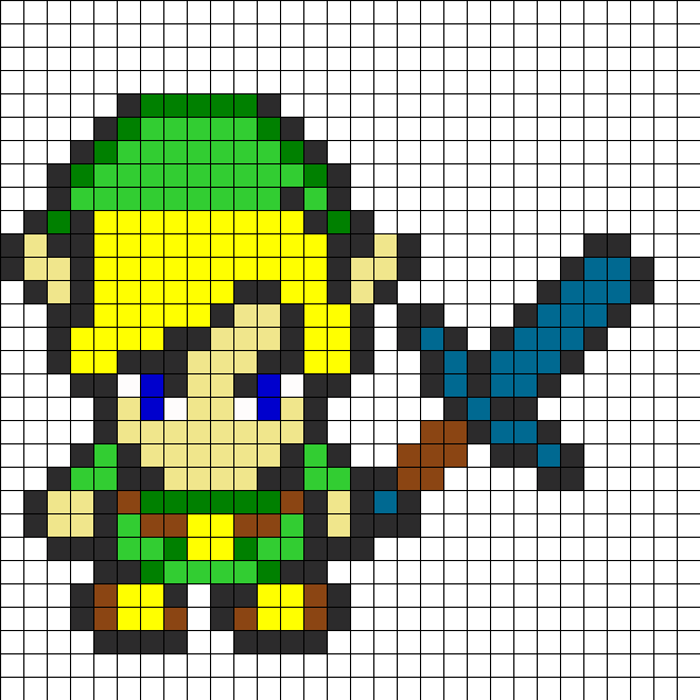 Zelda With Sword Perler Bead Pattern / Bead Sprite