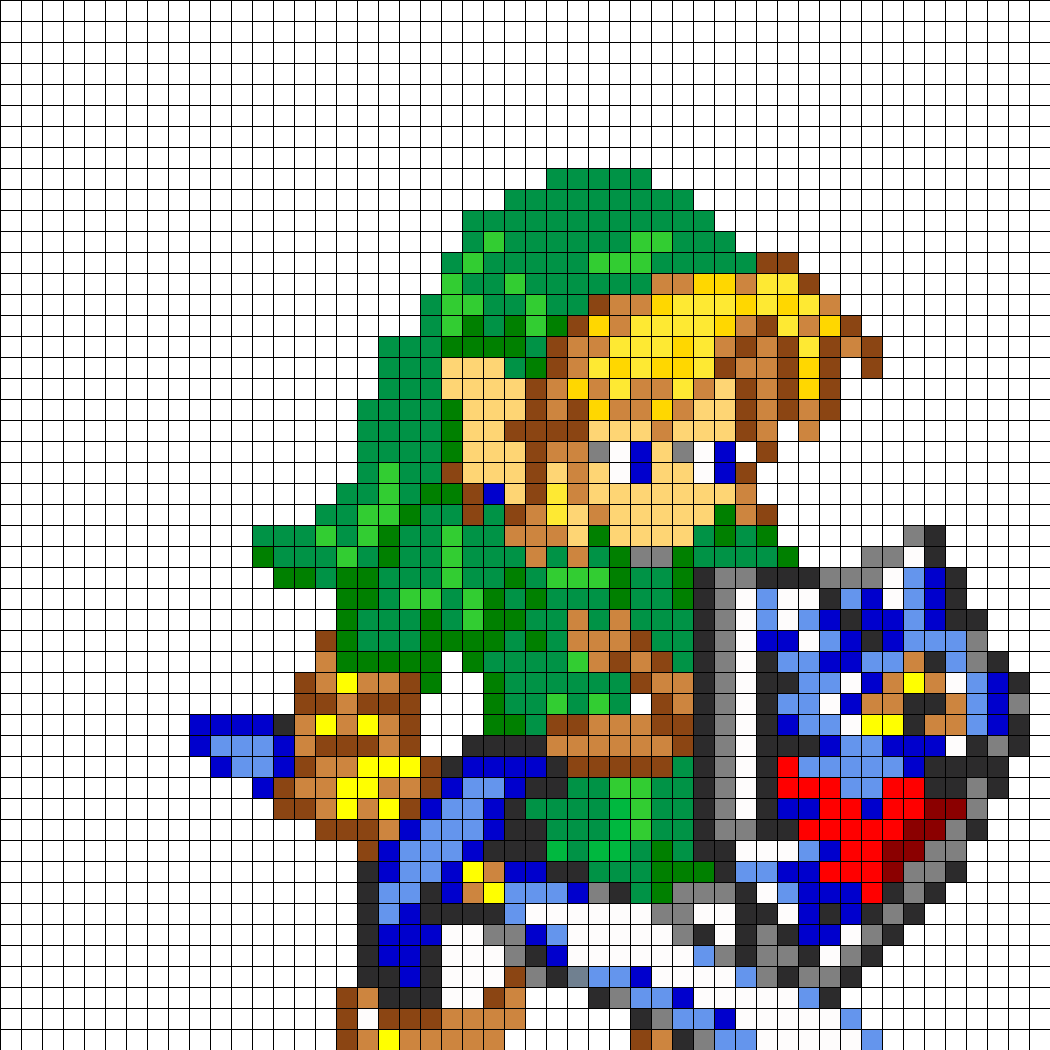 Link Full Body Perler Bead Pattern / Bead Sprite