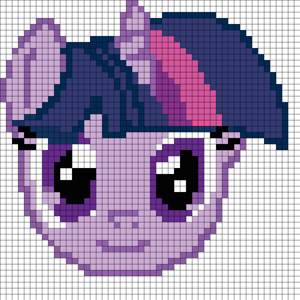 Twilight Sparkle Face Perler Bead Pattern / Bead Sprite