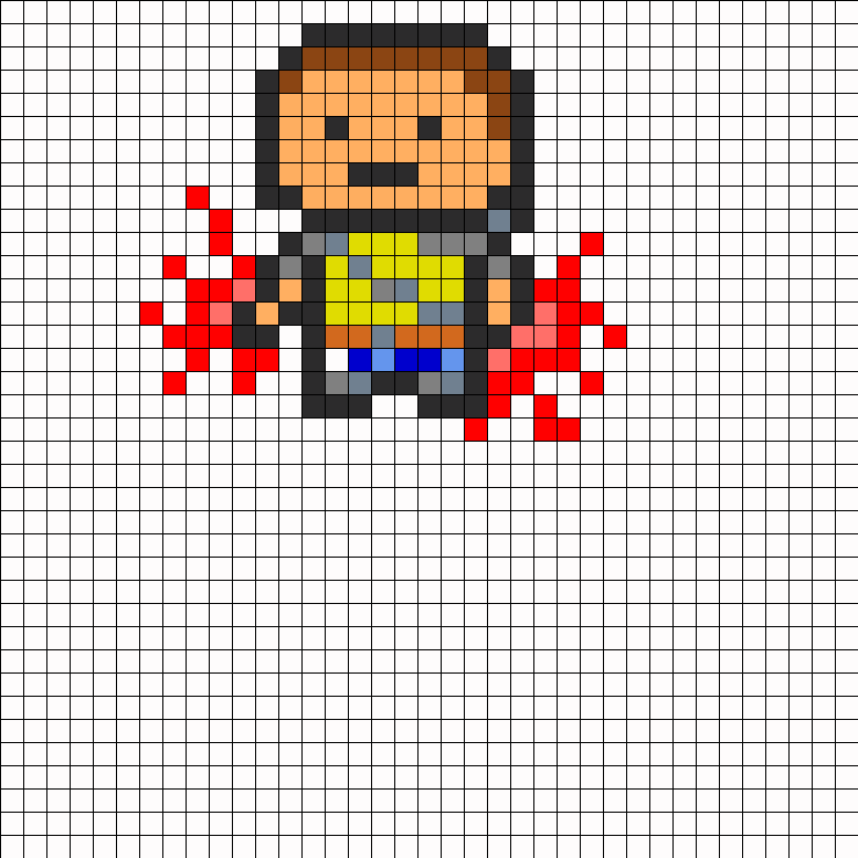 8bit Cole From InFamous Evil Karma Perler Bead Pattern / Bead Sprite