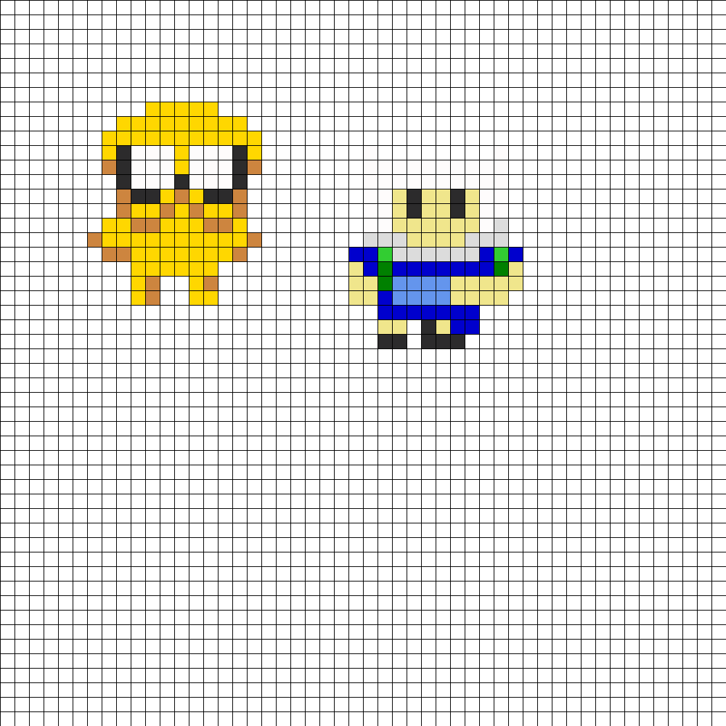 Finn And Jake Small Perler Bead Pattern / Bead Sprite