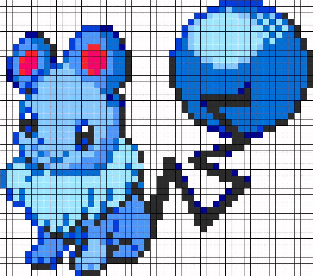 Eevee And Marill Fusion Perler Bead Pattern / Bead Sprite