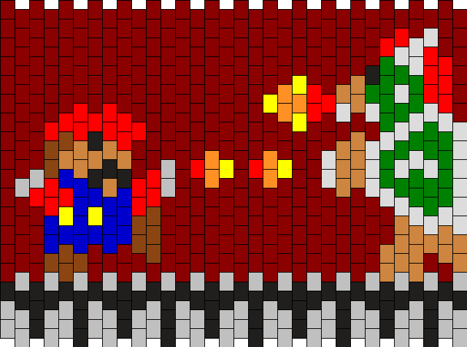 Mario And Bowser Kandi Pattern