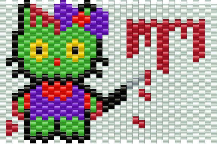 Hello Kitty Zombie Killer Kandi Pattern