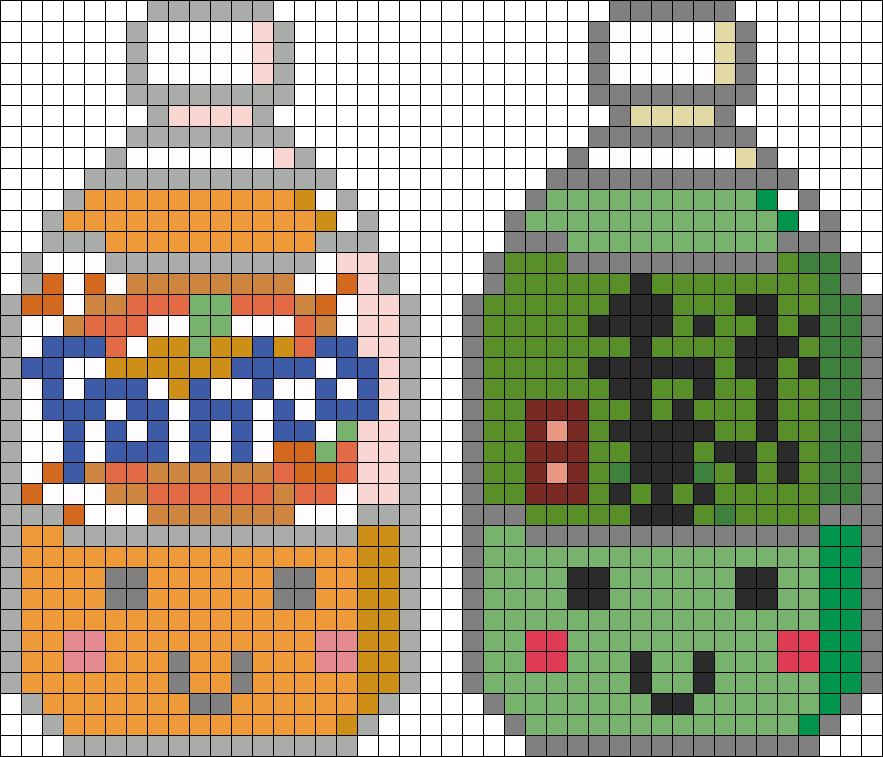 Orange And Green Drinks Perler Bead Pattern / Bead Sprite