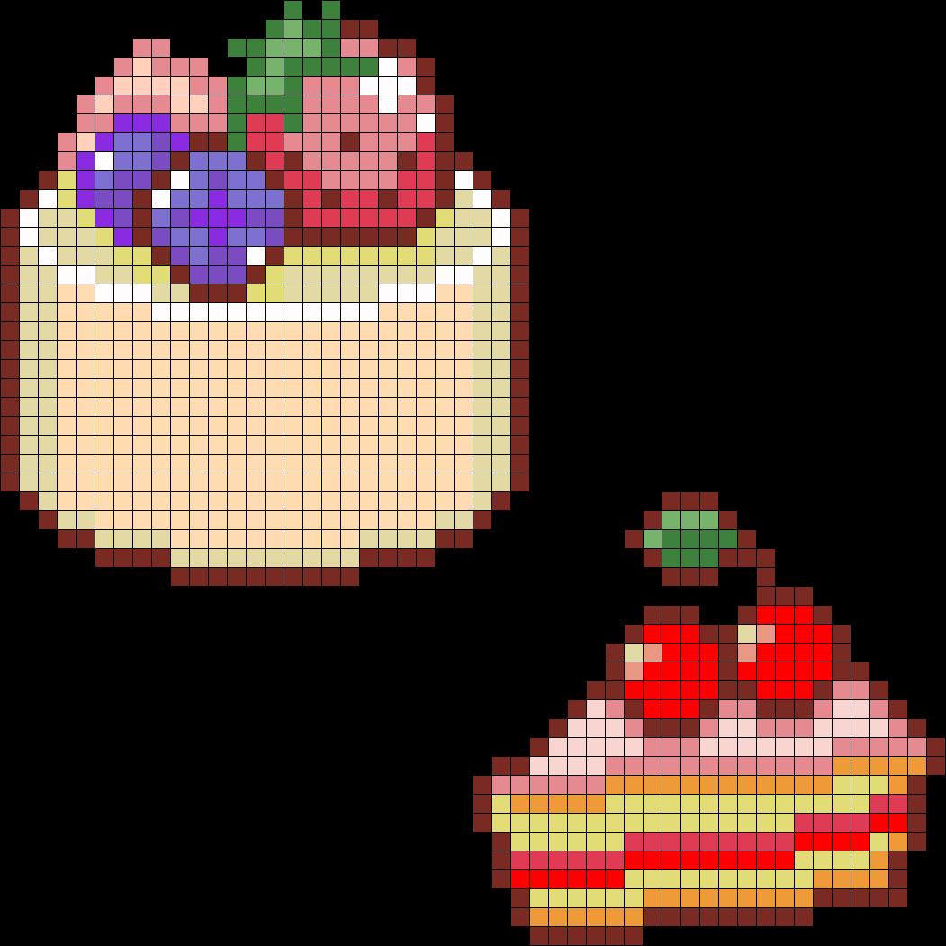 Round Cake And Cherry Cake Perler Bead Pattern / Bead Sprite