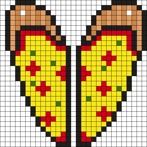 Pizza Heart Perler Bead