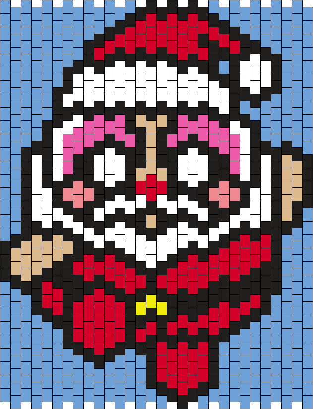 Blossom As Santa (from The Powerpuff Girls) Bead Pattern