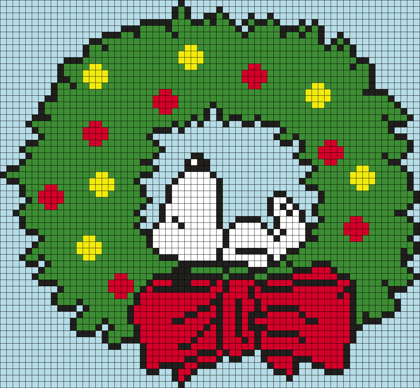 Snoopy Wreath (from Peanuts) Square Grid Perler Bead Pattern / Bead Sprite