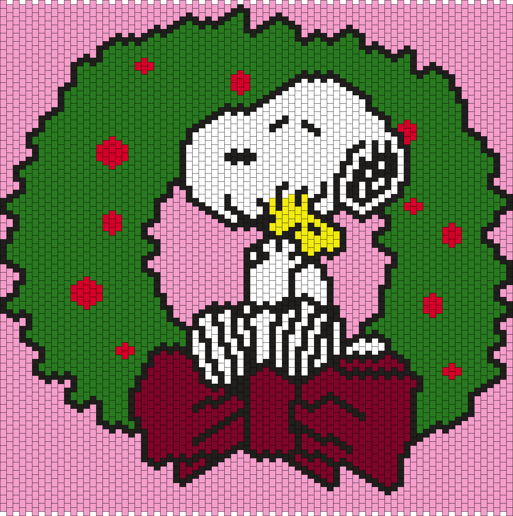 Snoopy Hugging Woodstock In A Christmas Wreath  Bead Pattern
