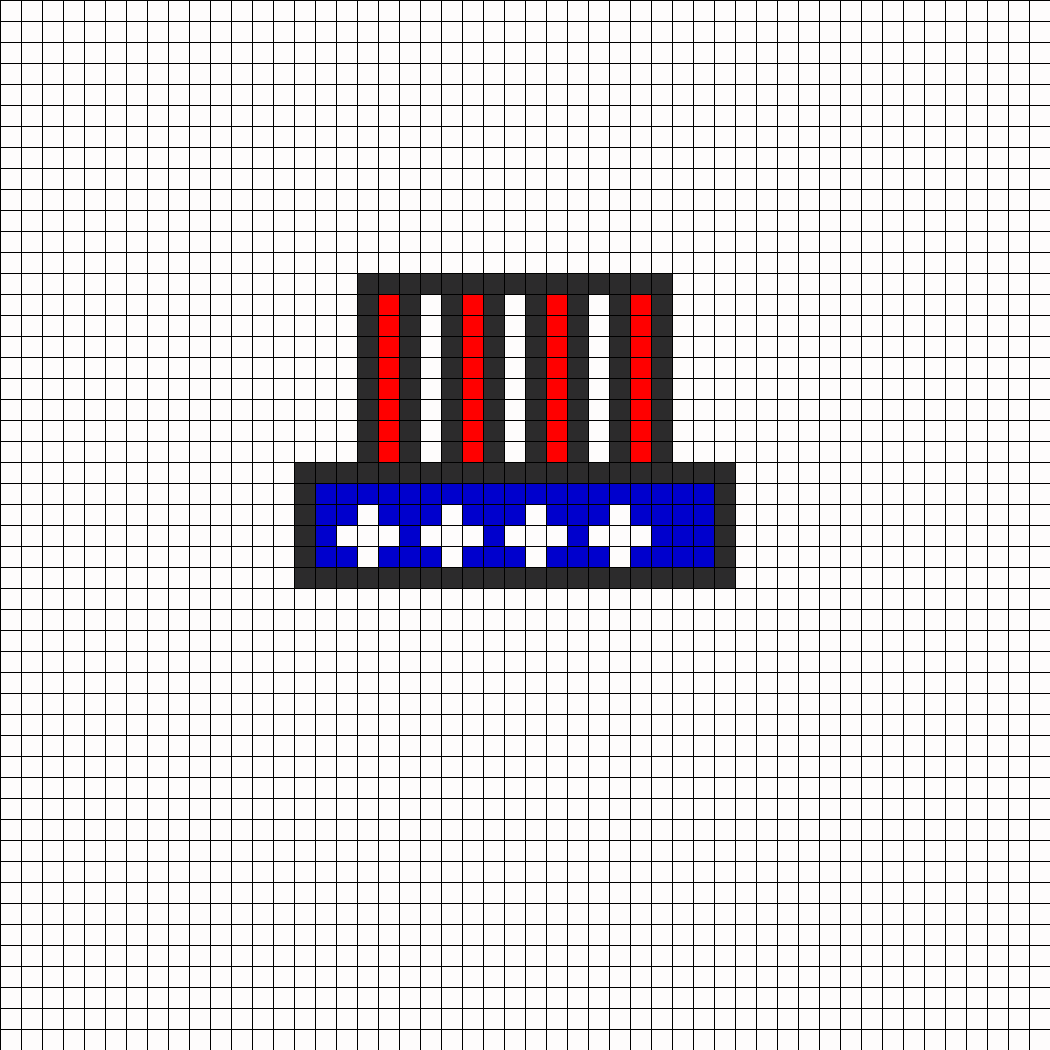 Uncle Sam Hat Perler Bead Pattern / Bead Sprite