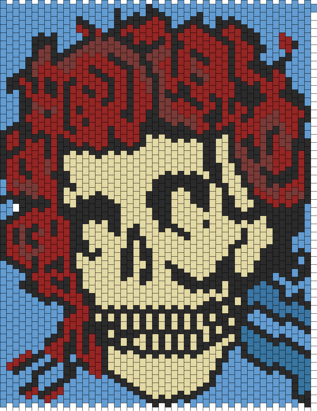 Grateful Dead Skull 2 Bead Pattern