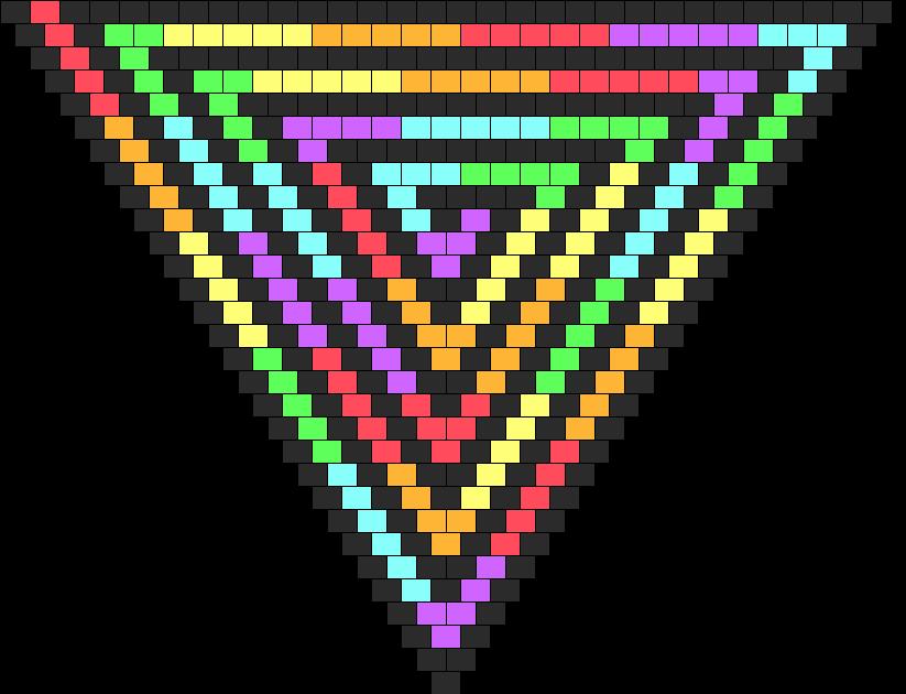 Rainbow And Black Spiral Bandana Bead Pattern