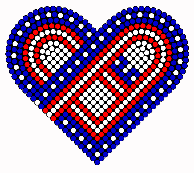USA Love Heart Perler Bead Pattern / Bead Sprite