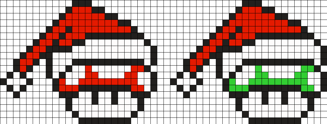 Mushrooms Christmas Perler Bead Pattern / Bead Sprite
