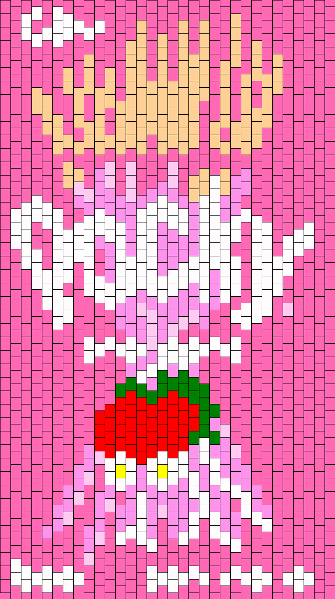 Strawberry Pocky Backpack Front Bead Pattern