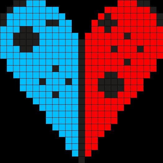 Joycon Heart Perler Bead Pattern / Bead Sprite