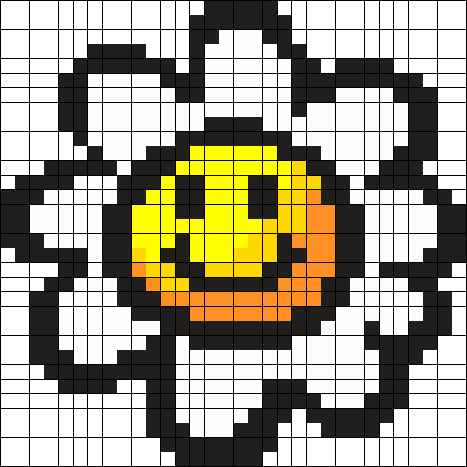 Daisy With A Face Perler Bead Pattern / Bead Sprite