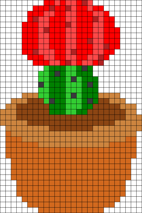 Red Flowering Cactus Perler Bead Pattern / Bead Sprite