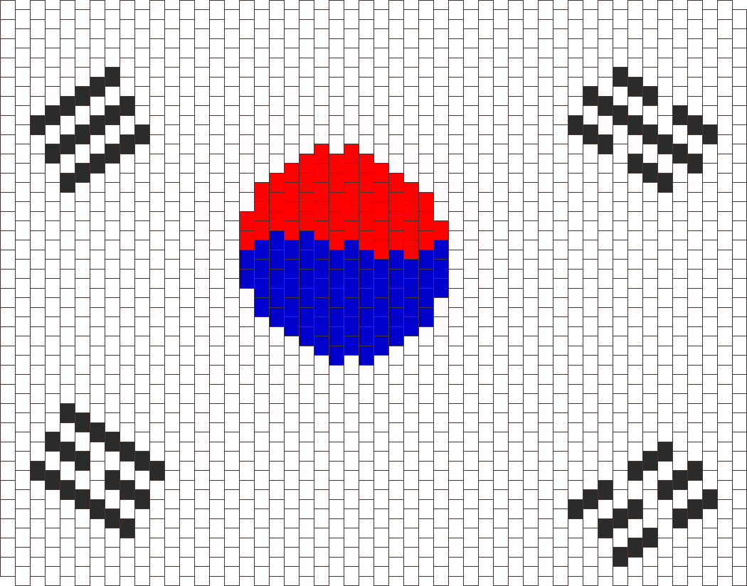 South Korea Flag  Bead Pattern