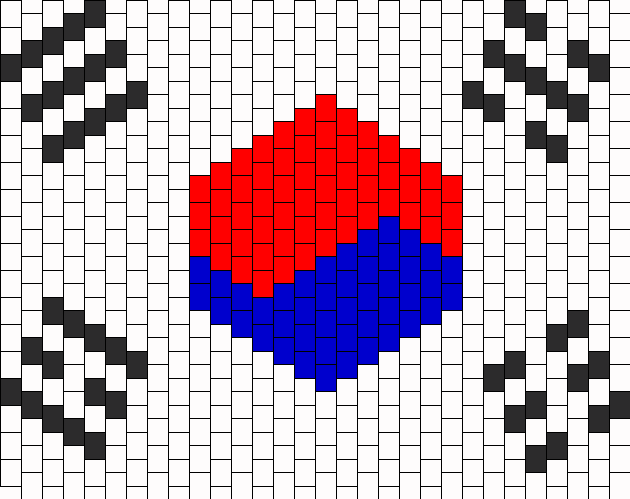 South Korea Flag 2 Bead Pattern