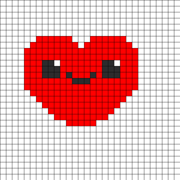 Cute Kawaii Heart Perler Bead Pattern / Bead Sprite