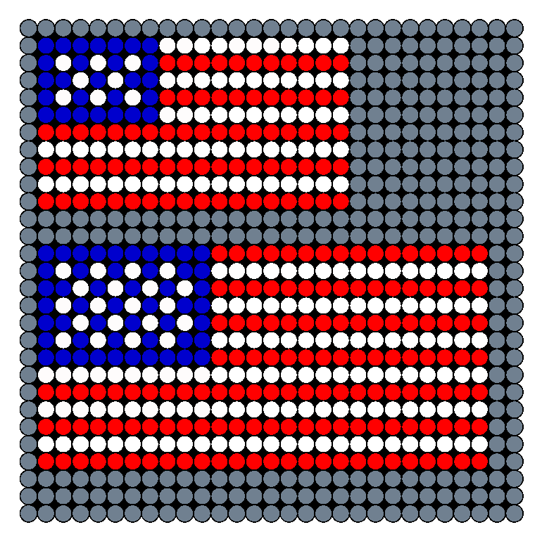 American Flag Small And Medium Perler Bead Pattern / Bead Sprite