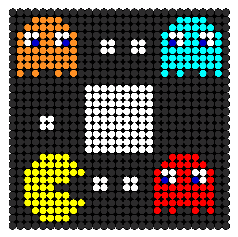 Pac Man And Ghosts Perler Bead Pattern / Bead Sprite