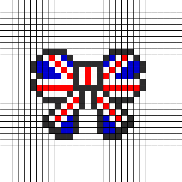 Union Jack British Flag Bow Perler