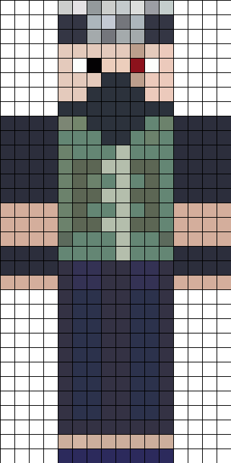 Ethoslab minecraft skin inspired by kakashi hatake perler for Minecraft skin template grid