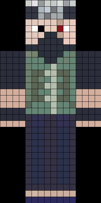 EthosLab Minecraft Skin Inspired By Kakashi Hatake Perler Bead Pattern / Bead Sprite