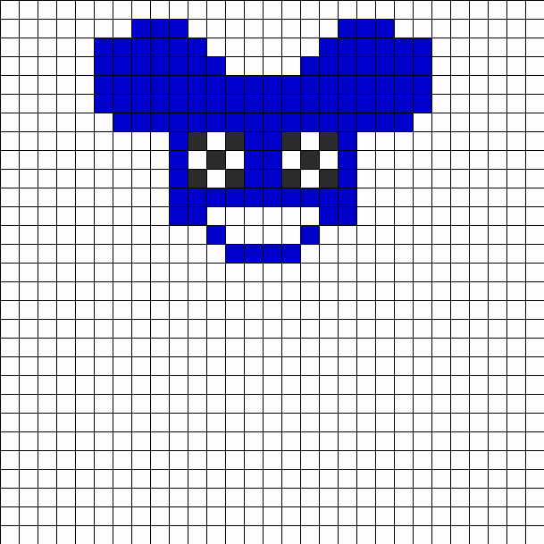 Deadmau5 With X Eyes Perler Bead Pattern / Bead Sprite