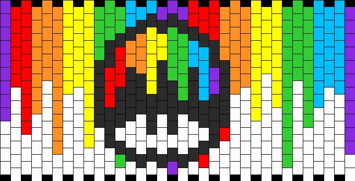 Rainbow Paint Mushroom Kandi Pattern