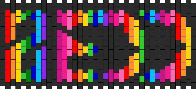 Rainbow Zedd Numbered Kandi Pattern
