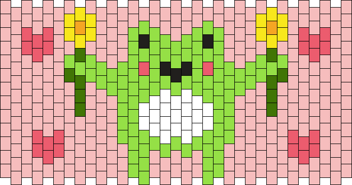 34 X 13 Frog With Flowers