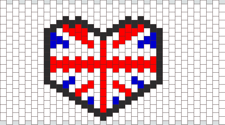 British Flag Heart Kandi Pattern