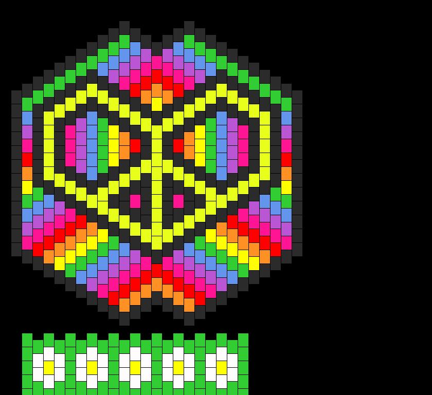 Rainbow Peace Heart Bra  Bead Pattern