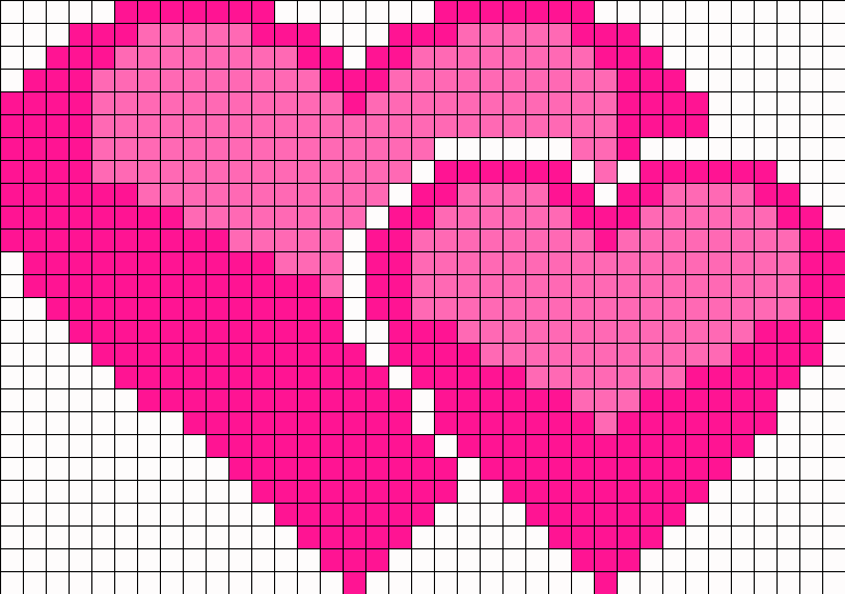 Double Hearts Perler Bead Pattern / Bead Sprite