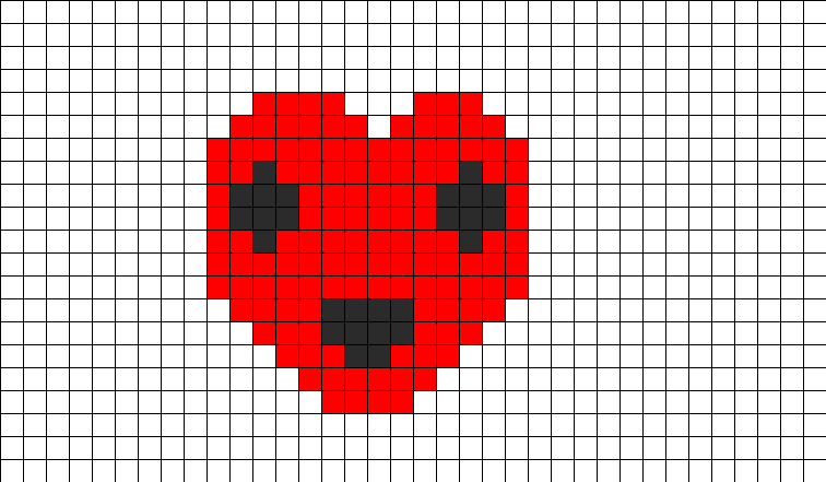 Smiley Heart Perler Bead Pattern / Bead Sprite