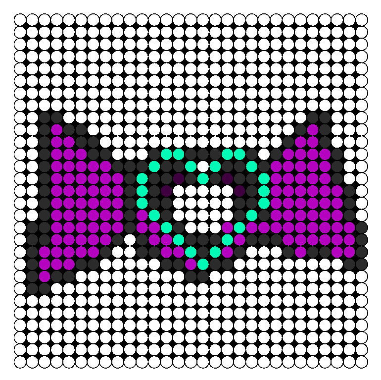 Perler Bead heart hair bow