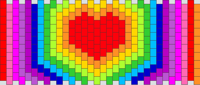 Rainbow Heart Waves Kandi Pattern