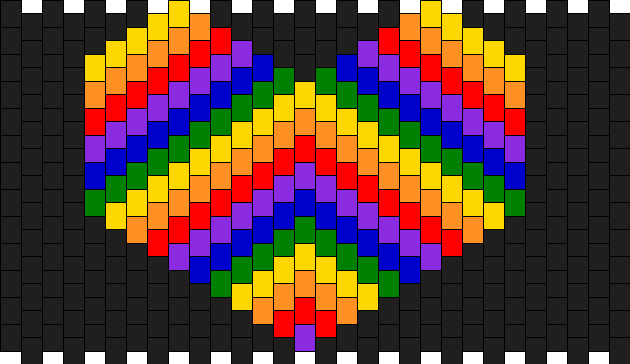 Rainbow Heart Kandi Pattern