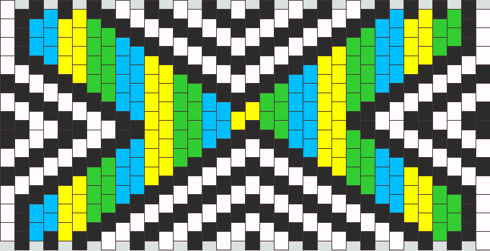 multicolored x with white and black arrows